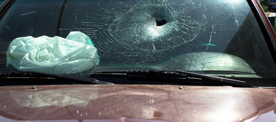 המכונית לאחר תאונת דרכים